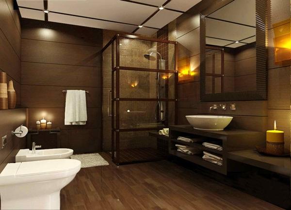 Dark brown bathroom
