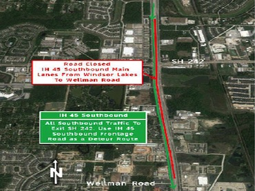 All I-45N southbound lanes closed Fri-Mon, Oct 24 - 27