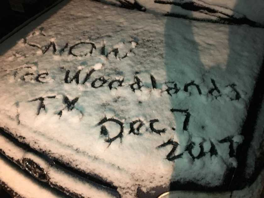 Photo Gallery Snow In The Woodlands Dec 7 2017 The Woodlands Tx