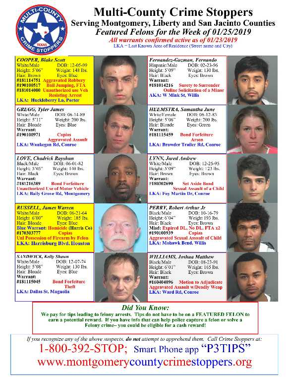 Crime Stoppers Featured Felons for January 25, 2019