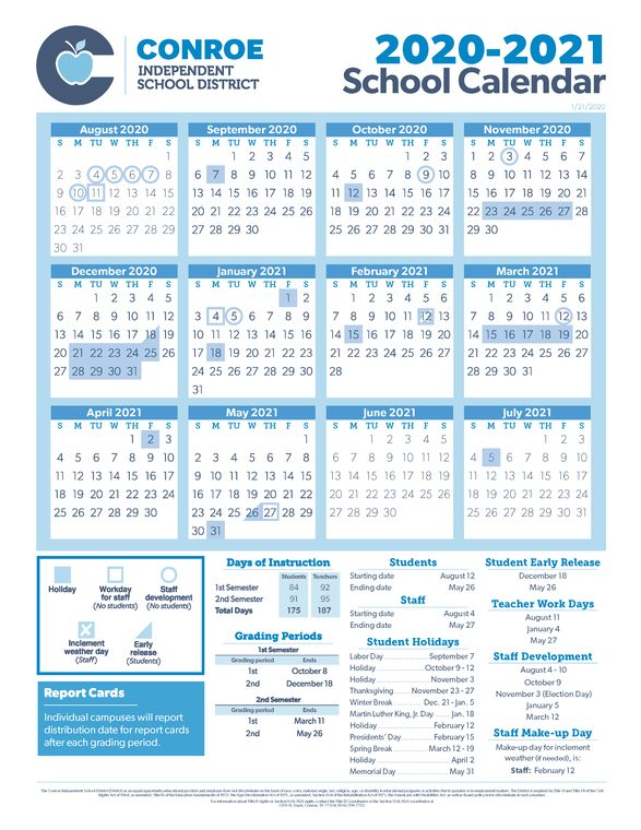 Cisd Calendar 2021 Conroe ISD Trustees Approve 20 21 School Calendar | Woodlands Online