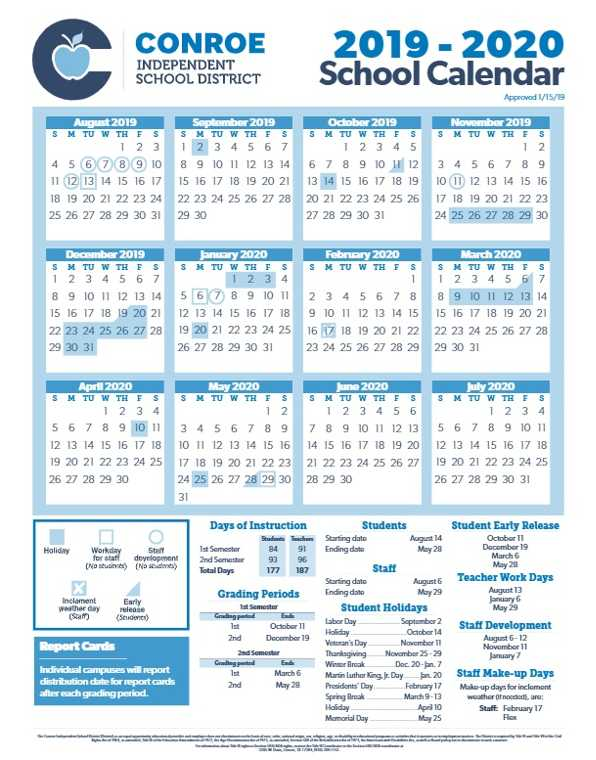 Conroe Isd Calendar 2019 2020.Conroe Isd Trustees Approve 19 20 School Calendar Woodlands Online