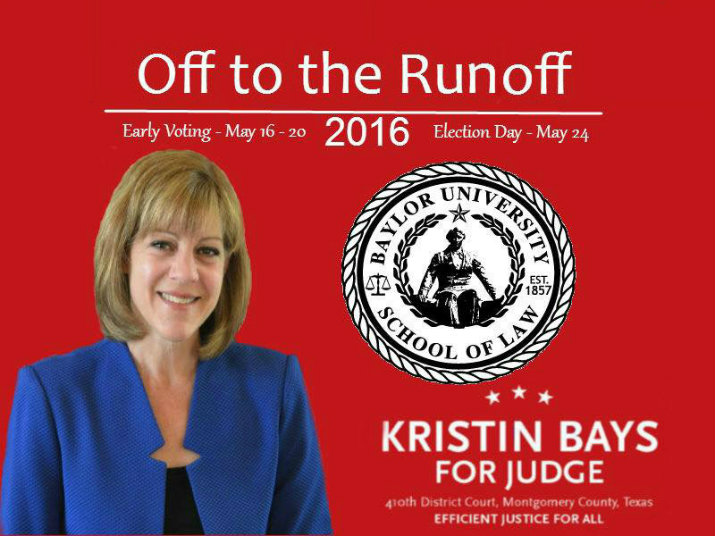 Chuck Meyer endorses Kristin Bays for the Montgomery County 410th judicial position