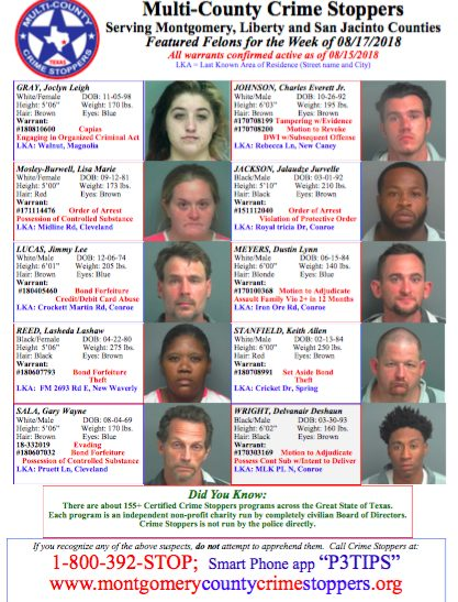 Crime Stoppers Featured Felons Aug  17, 2018 | Woodlands Online