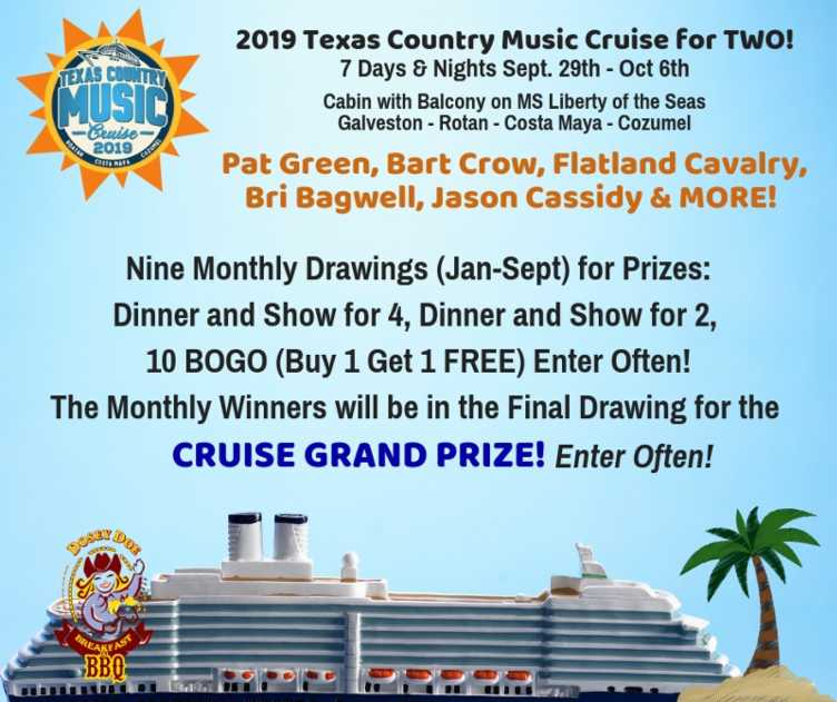 Dosey Doe giving away tickets to the Texas Country Music Cruise!