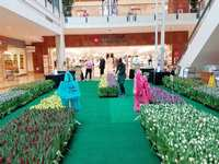 The Woodlands Mall  filled with flowers and art
